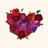 Valentine's day theme heart shaped flower elements vector. Cartoon vector illustration Stock Photography