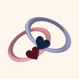 Valentine's day theme ring elements vector. Cartoon vector illustration Royalty Free Stock Photos