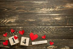 Valentine`s Day theme with wooden block calendar royalty free stock photography