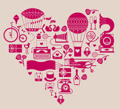 Valentine's day themed design element. With symbols of romance in a shape of heart stock illustration