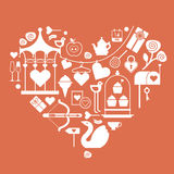 Valentine's day themed design element. With symbols of romance in a shape of heart vector illustration