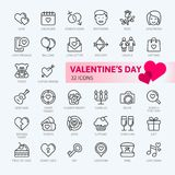 Valentine`s Day - thin line web icon set. royalty free illustration