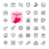 Valentine`s Day - thin line web icon set. stock illustration