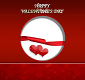 Valentine's day. Ticket wishes of valentine 's day with heart and red ribbon Royalty Free Stock Images