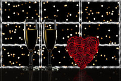 Valentine's day toast champagne. Valentine's day red roses, ,toast champagne Stock Photo