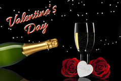 Valentine's day toast champagne. Valentine's day red roses, white hearts, toast champange Royalty Free Stock Photos