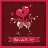 Valentine's day. Toast to happy valentine's day and heart shape wine Royalty Free Stock Photo