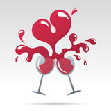 Valentine's day. Toast to happy valentine's day and heart shape wine Stock Images