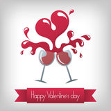 Valentine's day. Toast to happy valentine's day and heart shape wine Royalty Free Stock Photography