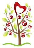 Valentine's day tree. With  leafs and hearts valentine background Stock Photography