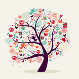 Valentine`s day tree greeting card Royalty Free Stock Photo