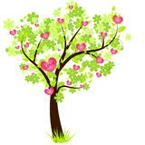Valentine's day tree with pink hearts Royalty Free Stock Images