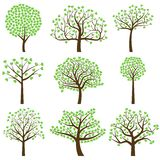 Valentine`s Day Tree Silhouettes with Heart Shaped Leaves - Vector Format Stock Photos