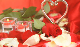 Valentine`s Day. Two candles and roses on a red background Royalty Free Stock Photos