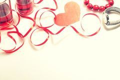 Valentine`s Day. Two glasses with red wine and gifts. Top view Royalty Free Stock Photography
