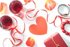 Valentine`s Day. Two glasses with red wine and gifts. Top view Stock Photography