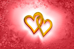 Valentine's Day - Two Gold Hearts Royalty Free Stock Image