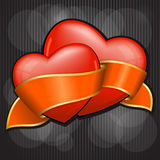 Valentine`s Day two heart with orange ribbon Royalty Free Stock Photo