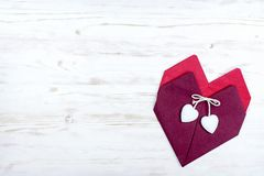 Valentine`s Day. two hearts of red napkins.  stock images