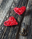 Valentine's Day: two red hearts and key Stock Photography
