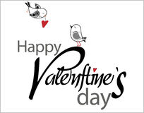 Valentine's Day type text with birds and hearts Stock Photography
