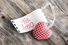 Valentine`s Day Decoration with Spanish Text. Valentine`s day valentines day decoration i love you confession in love te amo Royalty Free Stock Image