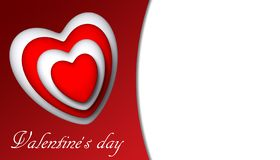 Valentine`s Day Valentines hearts. 3D royalty free illustration