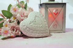Valentine's Day - Valentines symbol , heart and flowers Royalty Free Stock Photo