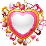 Valentine's Day vector background. Gift card and Stock Photography