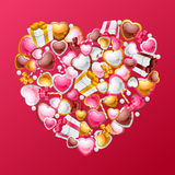 Valentine's Day vector background. Gift card and Royalty Free Stock Photography