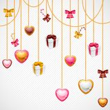 Valentine's Day vector background. Gift card and Stock Image