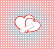 Valentine's day vector background two hearts space Royalty Free Stock Images