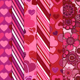 Valentine's Day Vector Backgrounds. Floral and heart backgrounds are seamless and tileable Royalty Free Stock Image