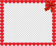 Valentine`s Day vector border with hearts and ribbon. Vector full-frame border with red cartoon hearts and festive ribbon in the corner isolated on transparent Stock Photos