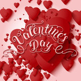 Valentine`s Day vector card. Elegant volumetric red hearts with soft shadows over light red background. Stock Image