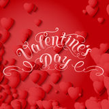 Valentine`s Day vector card. Elegant volumetric red hearts with soft shadows over red background. Chain of hearts. Stock Photos