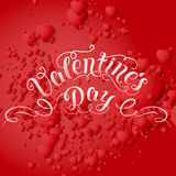 Valentine`s Day vector card. Elegant volumetric red hearts with soft shadows over red background. Stock Image