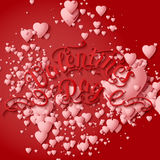 Valentine`s Day vector card. Elegant volumetric white hearts with soft shadows over red background. Royalty Free Stock Photos
