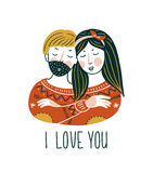 Valentine`S Day vector card. Lovely girl and boy embrace in scandinavian style with lettering - `I love you`. Stock Photo