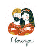 Valentine`s day vector card. Lovely girl and boy embrace in scandinavian style with lettering - `I love you`. Royalty Free Stock Photography