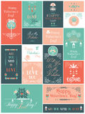 Valentine's Day Vector Cards Set with 17 designs Royalty Free Stock Image