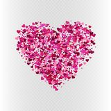 Vector valentine`s day heart shaped confetti decoration. Valentine`s day vector colorful pink heart confetti decoration on transparent background Royalty Free Stock Images
