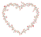 Valentine's day vector frame for text, composition of curly tree branches with many hearts and two birds. On white background Royalty Free Stock Photo