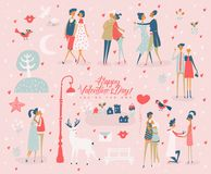 Happy Valentines Day. Valentines day greeting card in vintage style with cute couples Stock Photos
