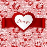 Valentine's Day vector greeting card design, heart and ribbon on seamless pattern Stock Photo