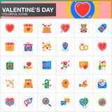 Valentine`s Day vector icons set, modern solid symbol collection, filled colorful pictogram pack isolated on white. Royalty Free Stock Photography