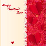Valentine's day vector lacy card with paper hearts Stock Photography