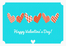 Valentine's day vector postcard. Isometric hearts on blue background. Valentine's day vector postcard. Isometric hearts dots and stripes on blue background Royalty Free Stock Photos
