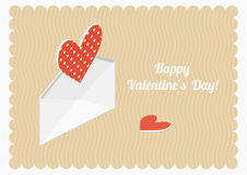 Valentine's day vector postcard. Isometric hearts and envelope. Valentine's day vector postcard. Isometric hearts and envelope on pastel background Royalty Free Stock Photography