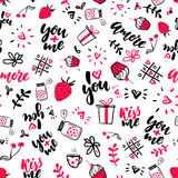 Valentine s Day vector seamless pattern. Isolated Artistic doodle drawings, lettering, love quotes. I love you, you plus me, kiss me. Heart, strawberry, jar Stock Image